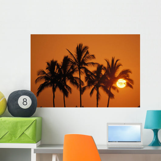 Hawaii, Sunset, Cluster Of Palm Trees, Sun Ball Wall Mural