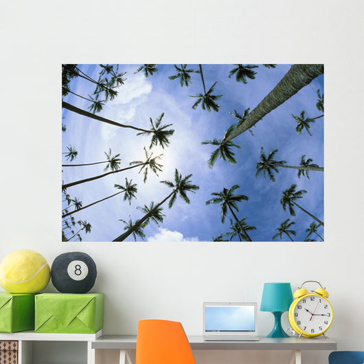 Hawaii, Palm Trees Seen From Below, Cloudy Blue Sky Wall Mural