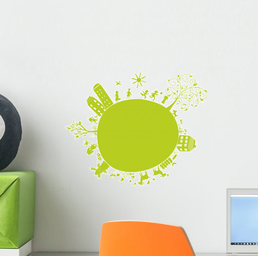 new green little earth Wall Decal