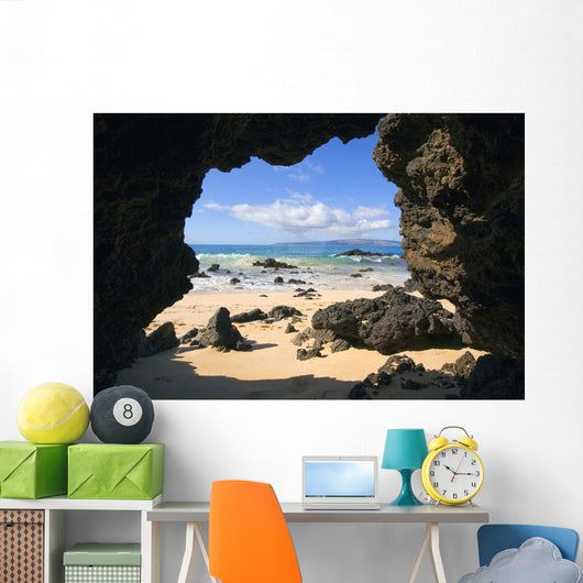 View From Secret Beach Of Kahoolawe Framed By Lava Tube Wall Mural