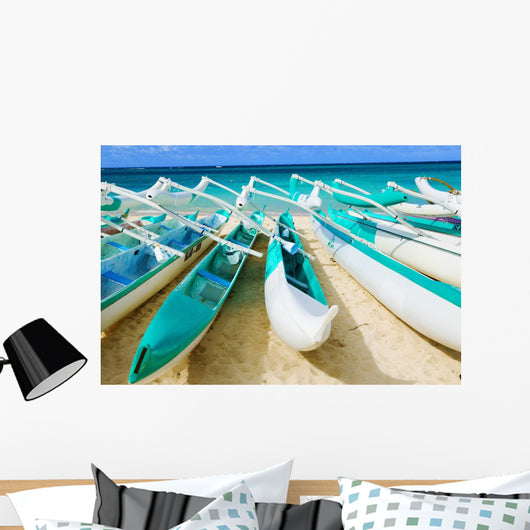 Hawaii, Oahu, Lanikai, Outrigger Canoes Stacked Along The Beach Wall Mural