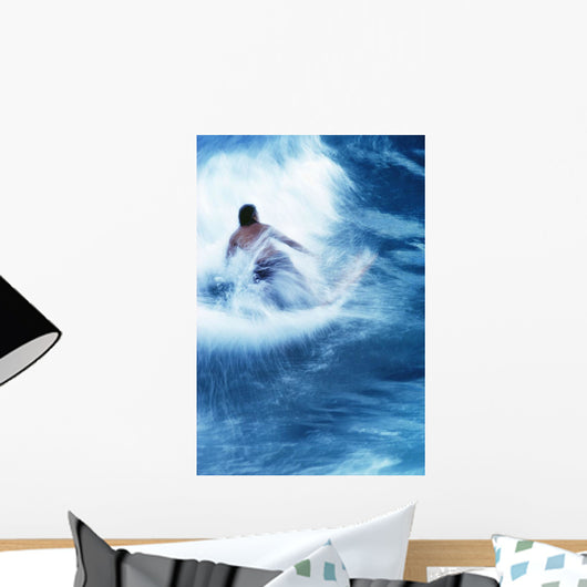 Surfer Carving On Splashing Wave, Interesting Perspective And Blur Wall Mural