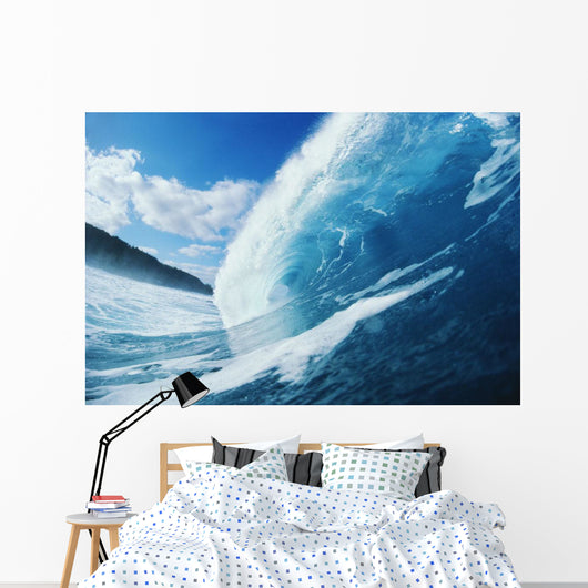 Side View Of Blue, Curling Wave Wall Mural