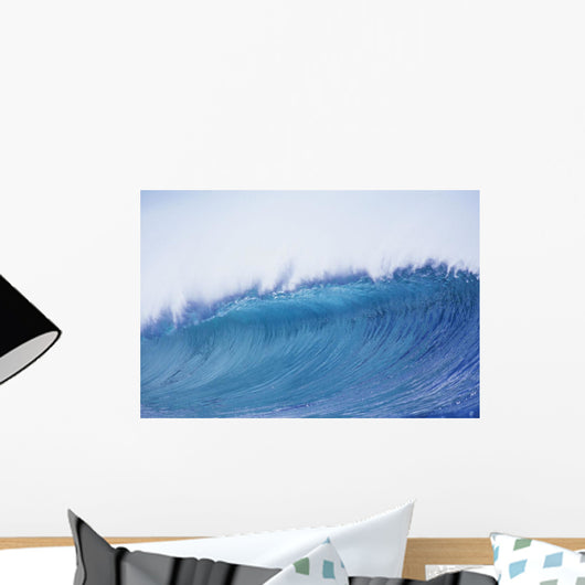 Blue Wave Curling Over Wall Mural