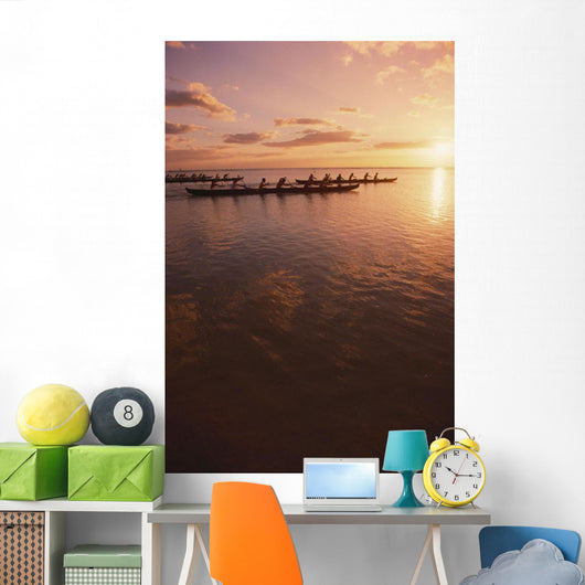 Pink Sunset And Ocean Reflections Wall Mural