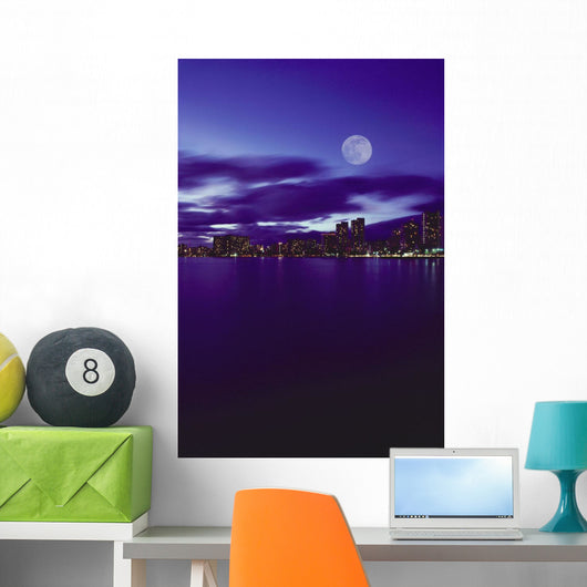 Pale Purple Sky With Reflections On Water Wall Mural
