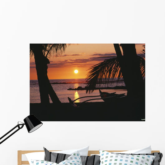 Outrigger Canoe Resting On A Tropical Beach Wall Mural