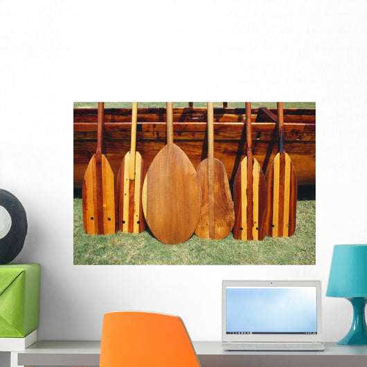 Hawaii, Different Shaped Canoe Paddles In Front Of Koa Canoe Wall Mural
