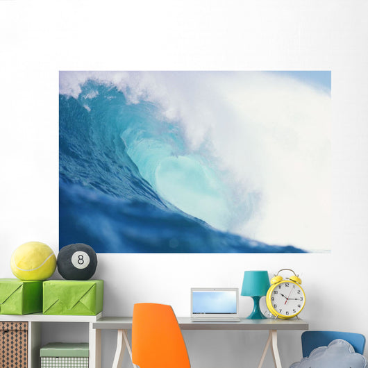 Wave Curling Over With Whitewash And A Barrel Forming Wall Mural