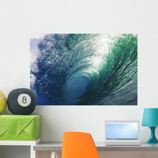 Hawaii, Inside Curling Blue Wave, Sun Shining Through Crest Wall Mural