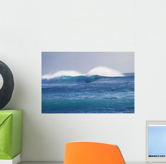 Hawaii, Spectacular Storm Waves Seen From A Distance Wall Mural