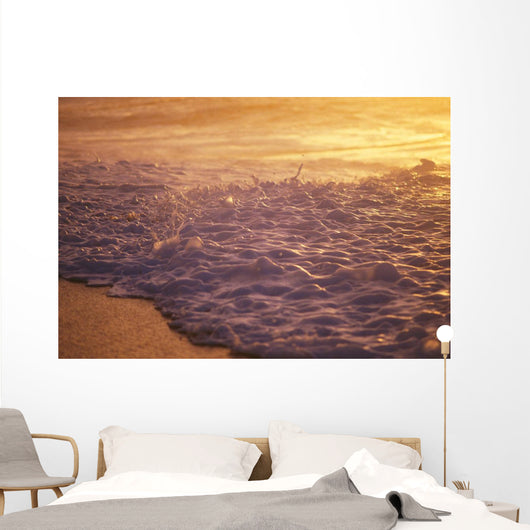 Hawaii, Sea Foam At Shoreline, Sunset Wall Mural