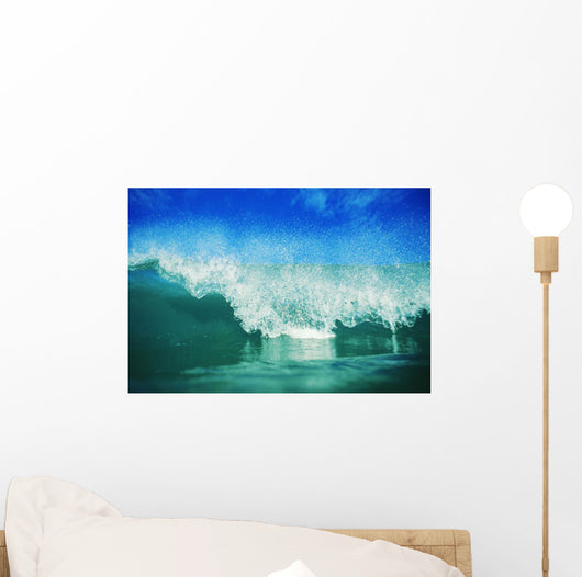 Hawaii, Green Wave Breaking Front View With Blue Skies In Background Wall Mural