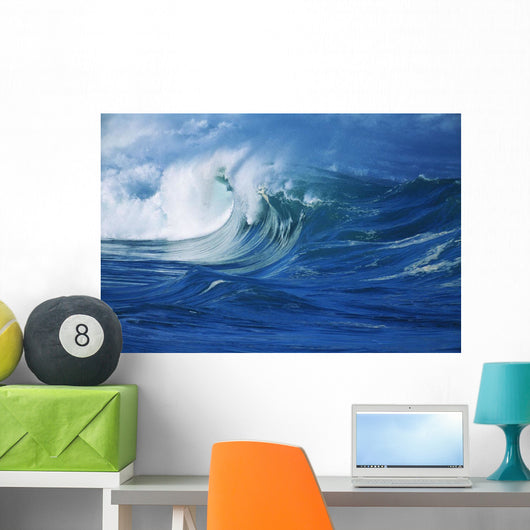 Misty Wave Coming In To Shore Wall Mural