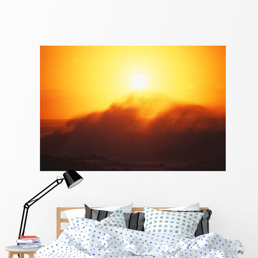 Hawaii, Big Waves At Sundown Wall Mural