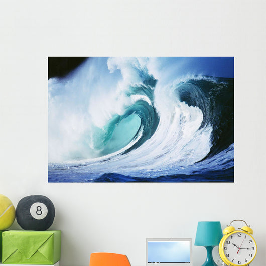 Stormy Ocean Wave Curling Over With Whitewash And A Barrel Forming Wall Mural