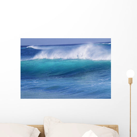 Hawaii, Turquoise Wave With Windspray Flying Off The Crest Wall Mural