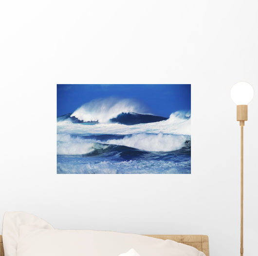 Big Waves, Stormy Water With Whitewash And Spray Wall Mural