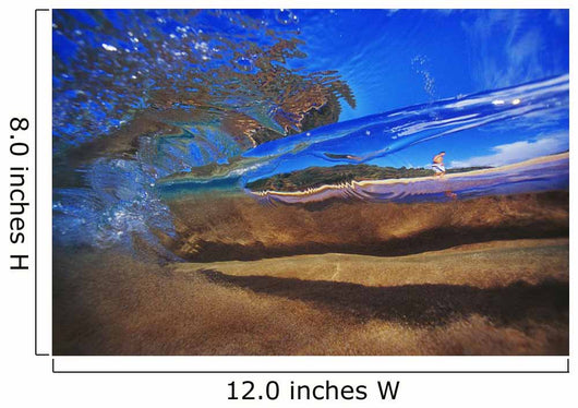 Abstract Underwater View Of Waves And Surf, Man Walking On Beach Wall Mural