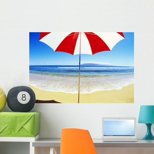 Red And White Umbrella On The Beach, Blue Sky And Ocean Wall Mural