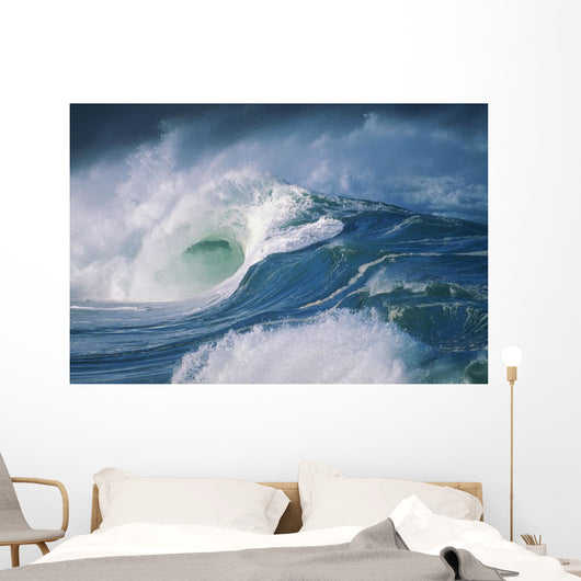Turbulent Shorebreak Waves With Whitewash Wall Mural