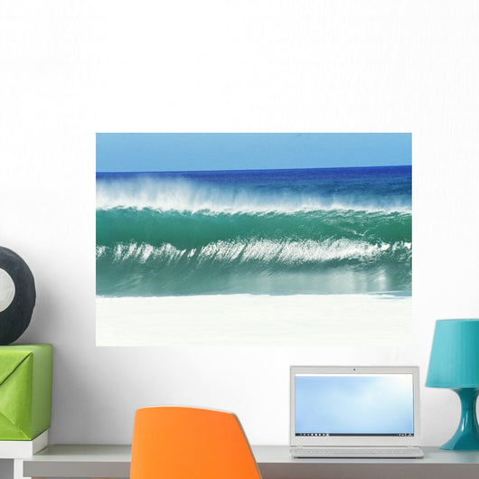 Shimmery Shorebreak Wave With Silver Waters In Foreground Wall Mural
