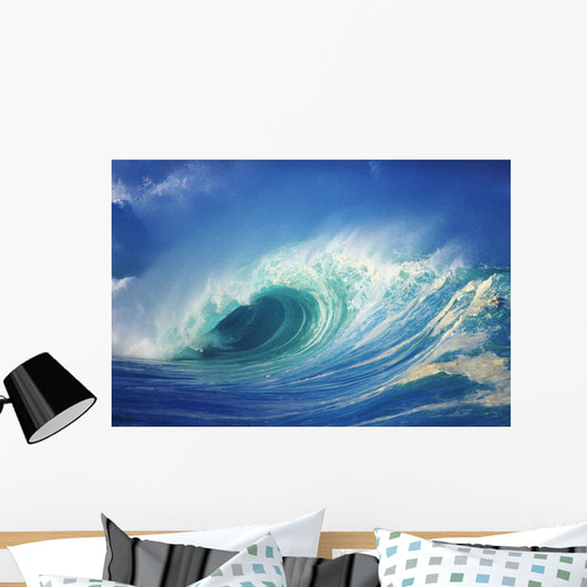 Stormy Ocean Wave Curling Over With Whitewash, View Of Barrel, Closeup Wall Mural