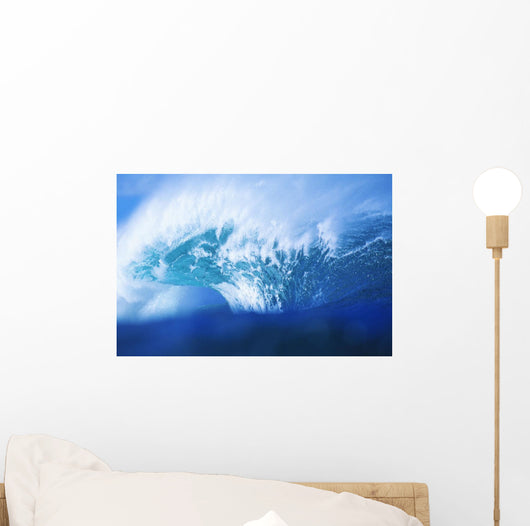 Stormy Blue Wave Crashing Over With White Wash Wall Mural