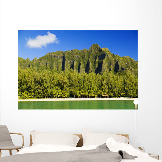 Hawaii, Oahu, Kualoa Mountainas, View From Ocean Wall Mural