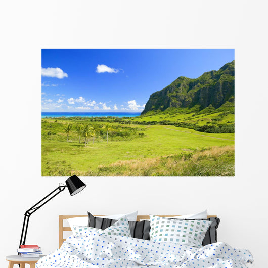 Hawaii, Oahu, Kualoa Ranch, Mountains And Ocean In Distance Wall Mural