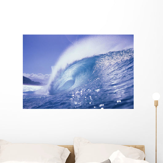 Large Curling Glassy Wave, Slight Glimpse Of Land Wall Mural