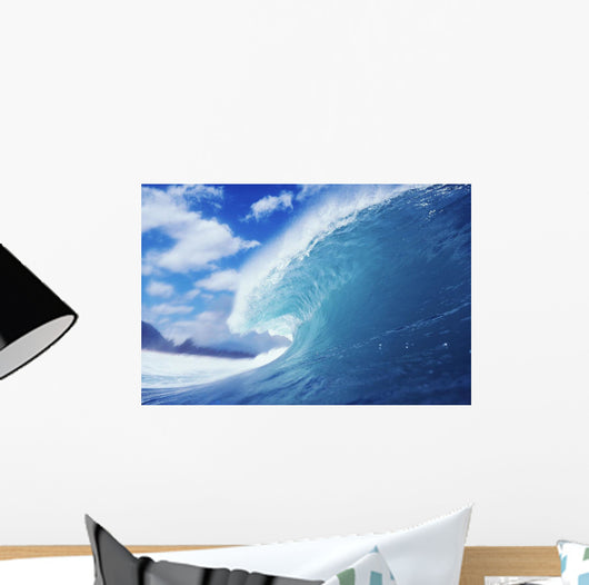 Side View Of Blue, Curling Wave, Background Blurred By Mist Wall Mural