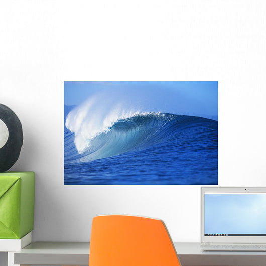 Hawaii, Oahu, North Shore, Front Angled View Of Pipeline Wave Curling Wall Mural