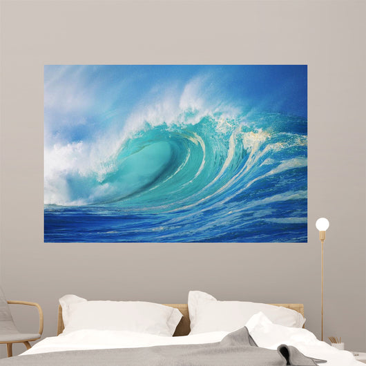 Large Wave Curling Breaking With White Mist Blowing Back Wall Mural