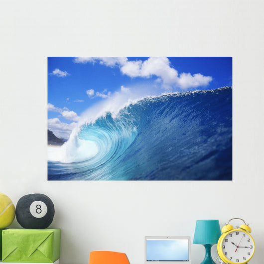 Hawaii, Oahu, North Shore, Curling Wave At World Famous Pipeline Wall Mural