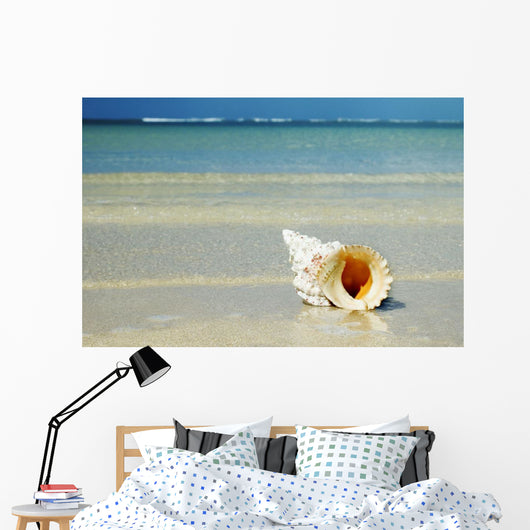 Tropical Seashell On The Beach With Gorgeous Clear Blue Ocean Behind Wall Mural