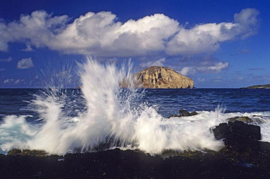 Waves Breaking On Lava Rock Coast At Makapu'u With Rabbit Island Wall Mural