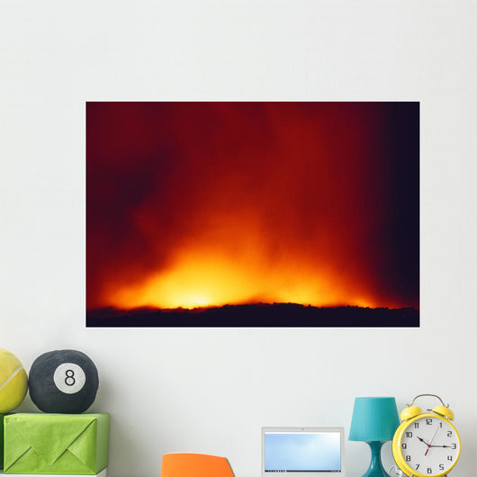 Lava Flowing Into Ocean At Night Wall Mural