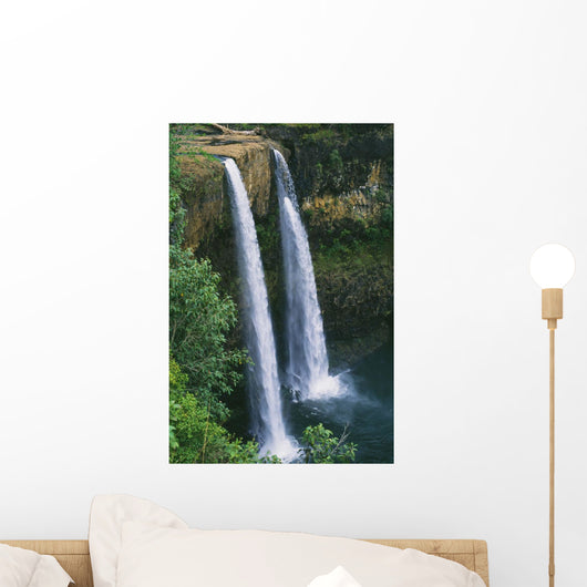 80 Foot High Waterfall Cascading Into Deep Pool Wall Mural
