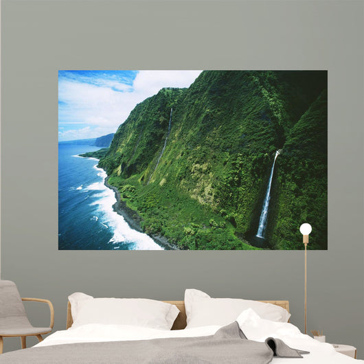Hawaii, Big Island, Hamakua Coast, Waterfalls Cascade Into The Ocean Wall Mural
