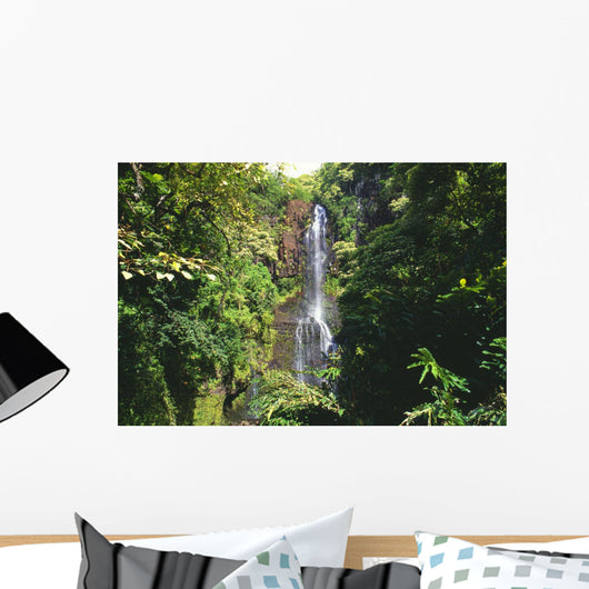 Hawaii, Maui, Hana Coast, Waterfall Surrounded By Lush Greenery Wall Mural
