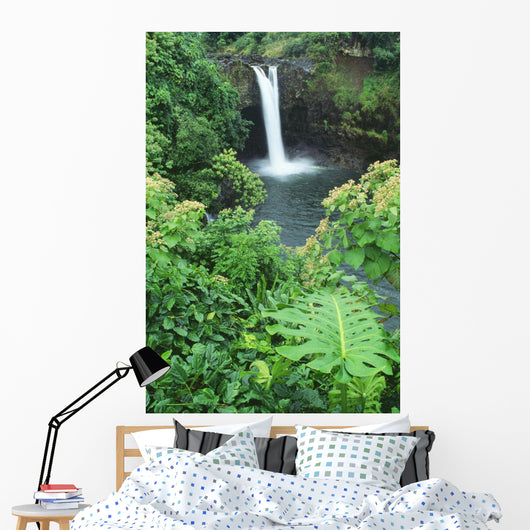 Hawaii, Big Island, Rainbow Falls, Pool Surrounded By Tropical Foliage Wall Mural
