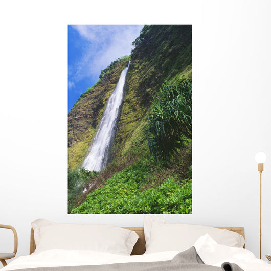 Kaluahine Falls Coming Down Mountainside Wall Mural