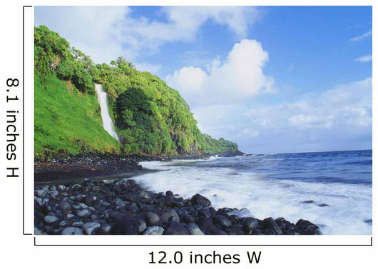 Hawaii, Maui, Hana, Pokupupu Point And Waikani Falls Going Into Ocean Wall Mural