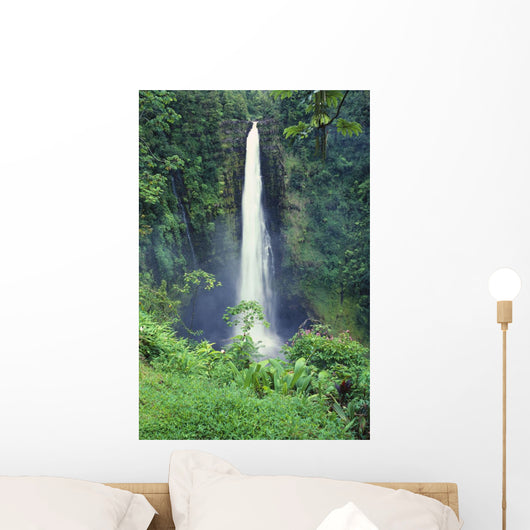 Hawaii, Big Island, Akaka Falls, Lush Greenery In Foreground Wall Mural