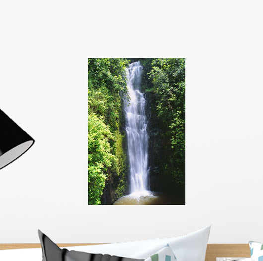 Waterfall Surrounded By Lush Greenery Wall Mural