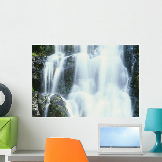 Hawaii, Oahu, North Shore, Waimea Falls Park, Waterfall Close-Up Wall Mural