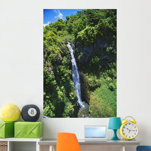 Hawaii, Maui, Waterfall Along Slopes Of Haleakala Above Huelo Wall Mural