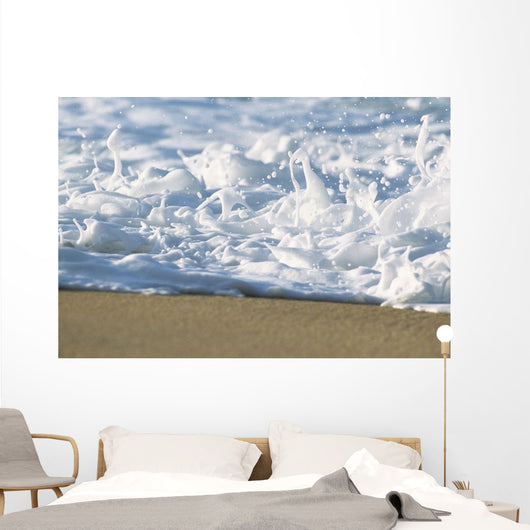 Hawaii, Ripple Of Water And Seafoam Breaks On Sandy Shore Wall Mural