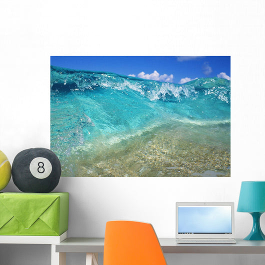 Ripple Of Crystal Clear And Turquoise Water Breaks On Sandy Shore Wall Mural
